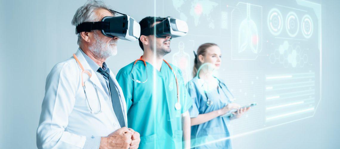 Futuristic,Medical,Diagnose,Through,Virtual,Reality,Glasses,Simulator,And,Screen